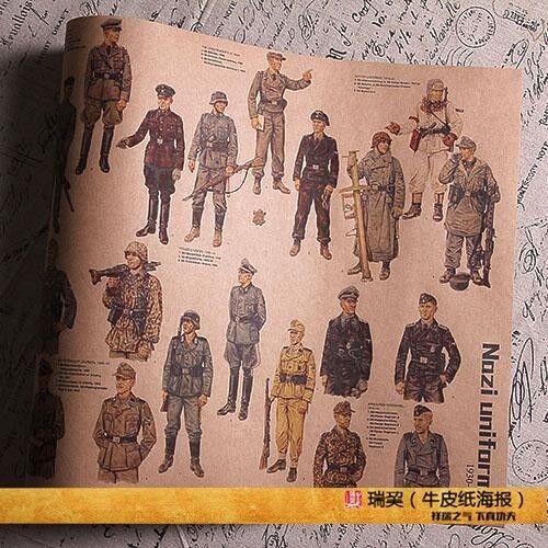 WW2 Uniform Histoy POSTER U.K  USA GERMANY  Kar98k  Wehrmacht SS SA RUSSIA