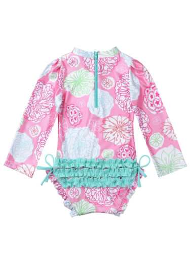 Infant Baby Girl Floral Ruffled Swimsuit Swimwear Bathing Suit Rash Guard Bikini