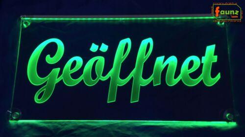 """LED Leuchtschild Hinweisschild """"Geöffnet"""" grün Farbe Montage wählbar"""