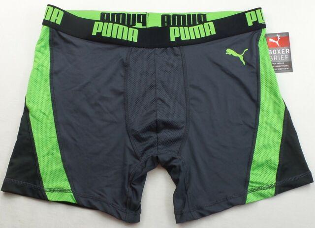 Puma Men/'s Boxer Brief Small Black Grey Sport Athletic Performance Gym New w Tag