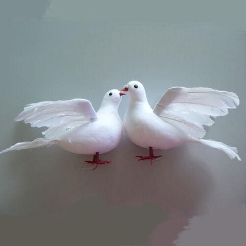 2 Colombes Sourds Couple Colombe Colombes Déco Mariage Baptême 19 cm Blanc