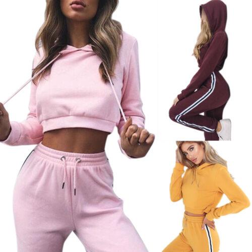 Damen Trainingsanzug Kapuzenpullover Sweatshirt Crop Top Jogginghose Sportanzug
