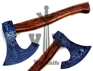 Handmade-Damascus-AXE-Hatchet-Tomahawk-Knife-18-Inches-Rose-wood-Handle