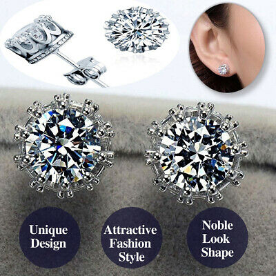 925 Sterling Silver Round Cut Sparkling Crystal Zircon Crown Shaped Stud Earring Ebay