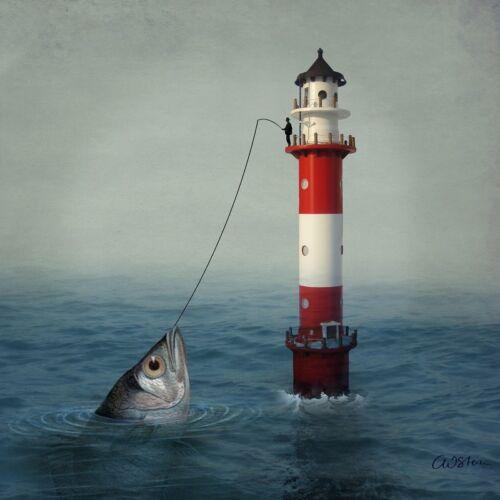 4 Servietten ~ Der große Fang Riesenfisch Leuchtturm Meer Angel Urlaub