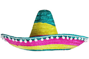 ce137532d71 Image is loading MULTI-COLOURED-MEXICAN-SOMBRERO-HAT-WILD-WESTERN-FANCY-