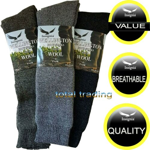 Mens /& ladies  wellington boot socks wellie welly  CUSHIONED MADE WITH WOOL