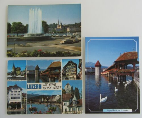 3x LUZERN Kanton color AK Switzerland Schweiz Postkarten Lot Suisse Postcards