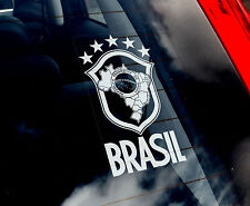 Brasil - Car Window Sticker - Brazil National Seal Symbol Football Flag Sign Art