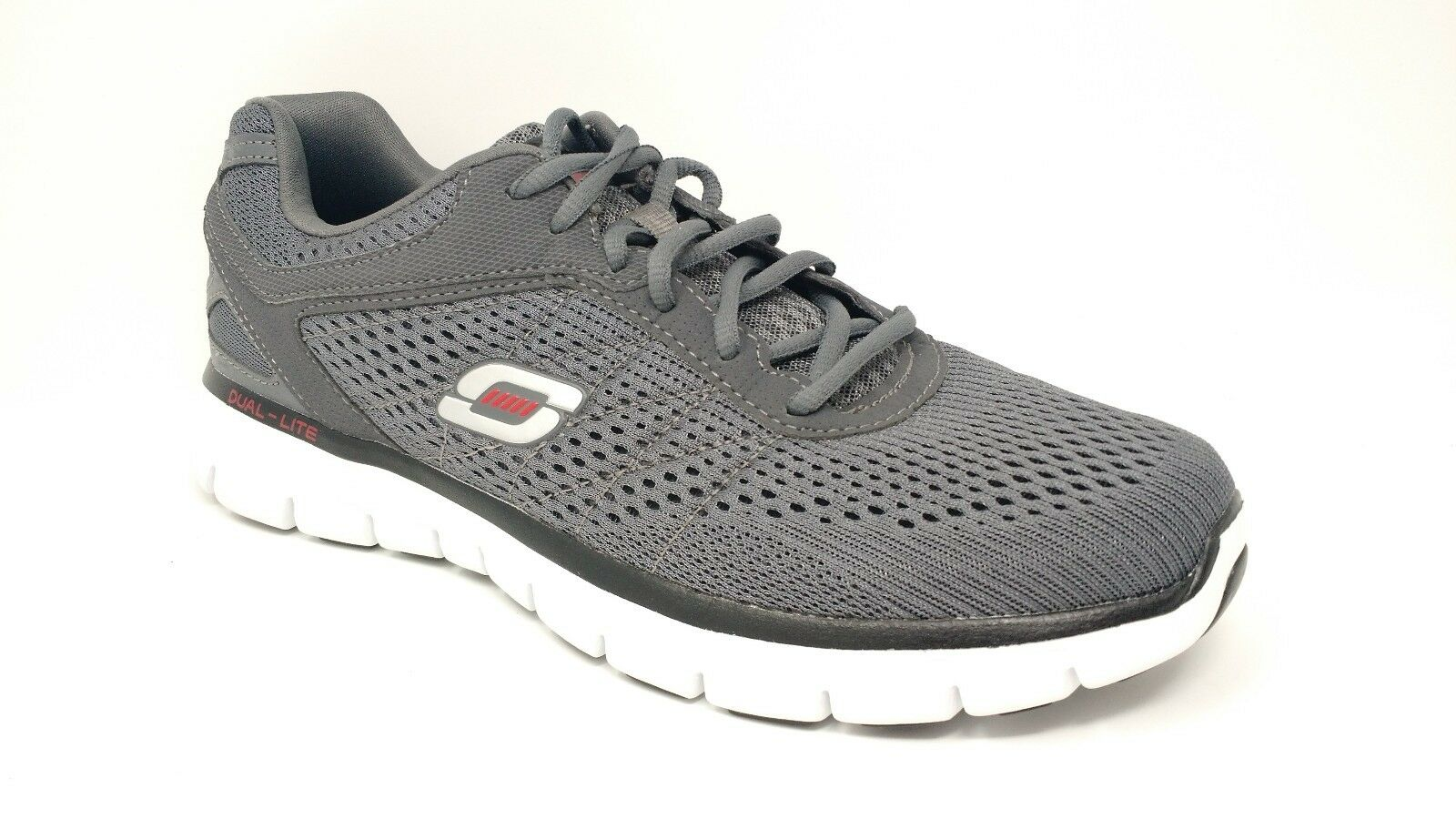 Skechers Mens Memory Foam Athletic Shoes Grey/Red Price reduction Comfortable and good-looking