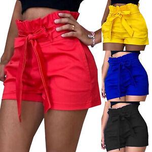 8e5dc728fc8ede Das Bild wird geladen Damen-High-Waist-Hotpants-Shorts -Kurzhose-Kurze-Freizeithose-