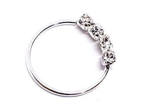 Nose-Ring-Crystal-4-Diamante-Cartilage-Earring-Tragus-Nose-Hoop-Helix-925-Silver