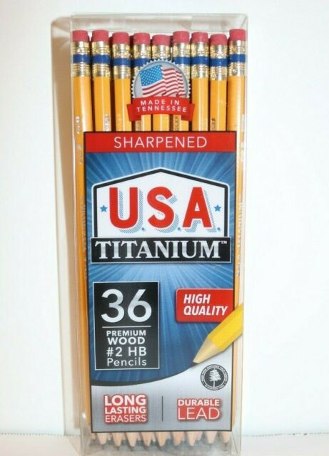 Lot of 4 USA Titanium Sharpened Wood Pencils #2 HB 36 per box High Quality USA
