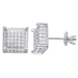 925 Sterling Silver MicroPave Cubic Zirconia Screw back Stud Earrings 9mmx9mm