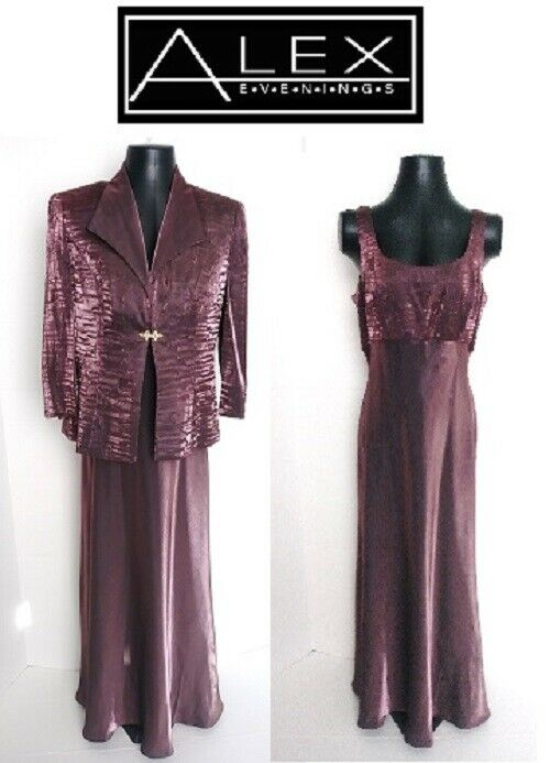 Alex Evenings Shiny Crinkle Jacket + Gown 12   14 lila Rhinestone L
