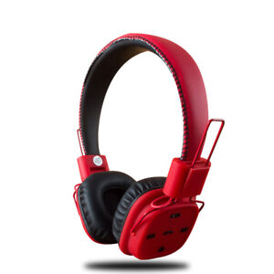 Red Bluetooth Wireless Headphones With Mic Super Bass Headset For Cell Phones Ebay