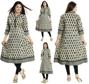 Women-Indian-Long-Printed-Cotton-A-Line-Anarkali-Kurti-Kurta-Dress-NK07-GREEN