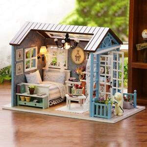 DIY-Mini-Dollhouse-Wooden-Children-Toy-Handmade-Doll-House-Furniture-Kit-YB