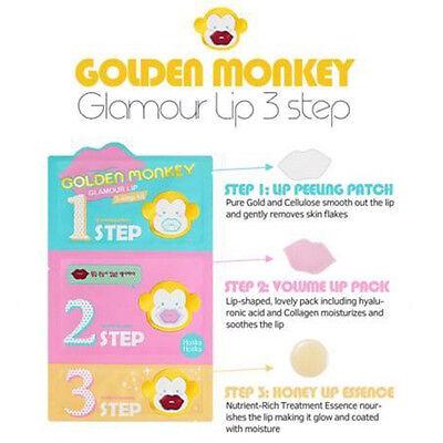 [HOLIKA HOLIKA] Golden Monkey Glamour Lip 3 Step Kit Mask Peel Scrub Exfoliator
