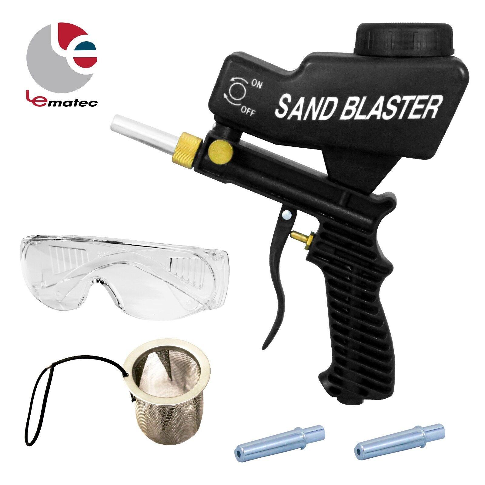 LEMATEC Sandblaster Gun Kits With Safety Glasses and Mesh Accessory Sandblasting