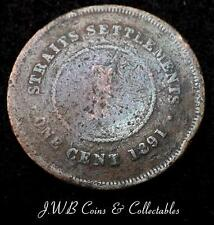 1891 Queen Victoria Straits Settlements One Cent Coin - Ref ; H/D