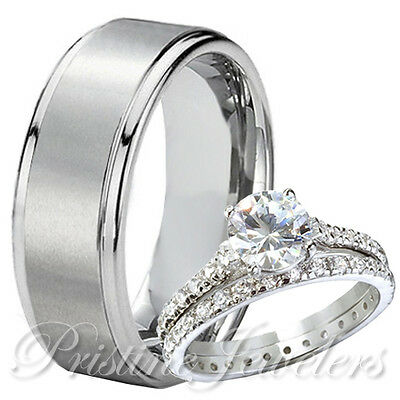 3pc Set Mens Solid Titanium Band Women 925 Sterling Silver Eternity Wedding Ring