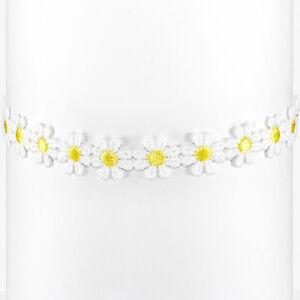Daisy-Choker-Flower-Necklace-Boho-White-Yellow-Lace-Hippy-Hippie