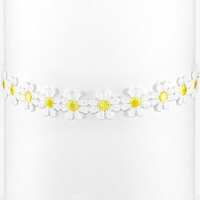 Daisy Choker Flower Necklace Boho White Yellow Lace Hippy Hippie
