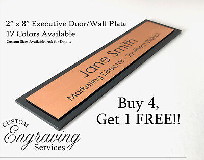 """OFFICE DOOR WALL NAME PLATE SIGN EXECUTIVE ENGRAVED ACRYLIC BACK 2/"""" X 8/"""" U.S.A."""