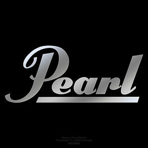 "Pearl Drums logo 8"" X 3.25"" Chrome logo sticker decal for ..."