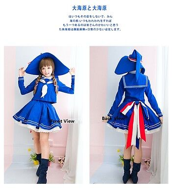 Cosplay clothing NEW Anime Wadanohara Blue Sailor Uniform Costume Witch Dress