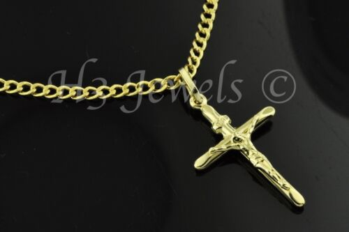 14k solid yellow gold hollow curb chain necklace /& cross pendant  #3504 4.0gram