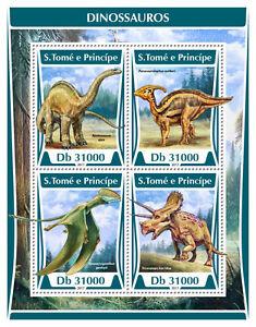 Sao-Tome-amp-Principe-2017-MNH-Dinosaurs-Apatosaurus-Triceratops-4v-M-S-Stamps