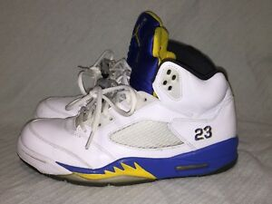 Men s sz 9.5 Nike Air Jordan 5 Retro Laney White Blue Yellow ... 826f1253c