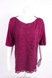 New-York-amp-Company-Women-039-s-Lace-Blouse-Shirt-XL-Magenta-Purple-Half-Sleeve-NWOT