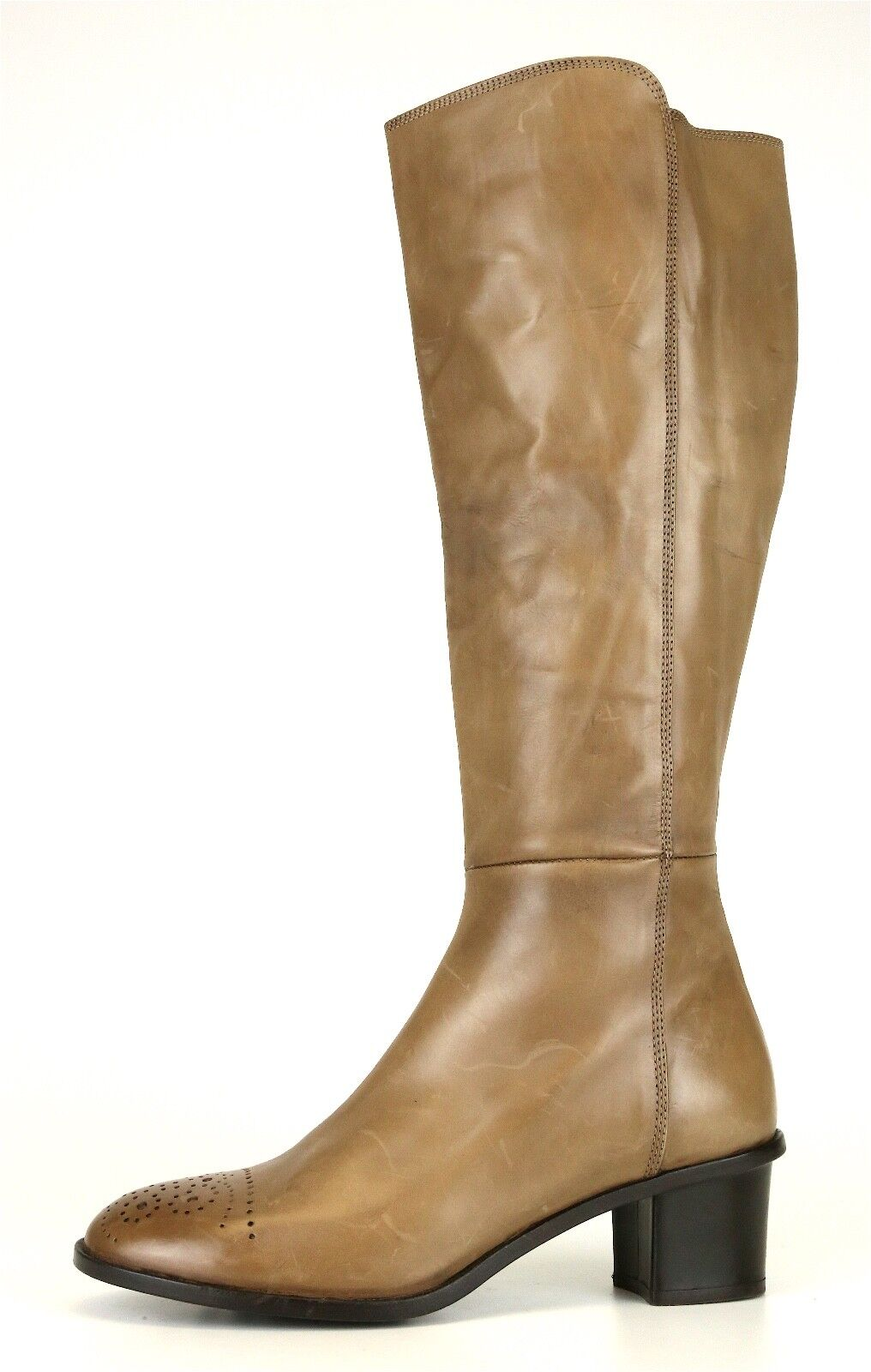 AGL Tall Leather Side Zip Zip Zip bottes Tan femmes Sz 41.5 EUR 6644  e7dc30