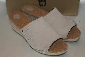 f0283021e9a NEW! UGG AUSTRALIA Sand Suede DANES Jute Wedge Open Toe Slides Mules ...