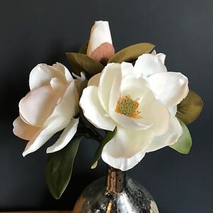 Extra Large Bunch Of Realistic White Artificial Magnolia Cream Faux