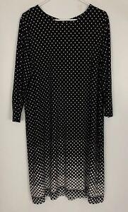 Michael-Kors-Black-White-Polka-Dot-Print-Shift-Dress-Size-3X