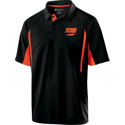 Storm Mens Trauma Performance Polo Bowling Shirt Dri-Fit Black Red