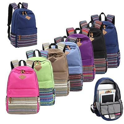 Hot Unisex Vintage Canvas Backpack Rucksack School Satchel Hiking Bag Bookbag