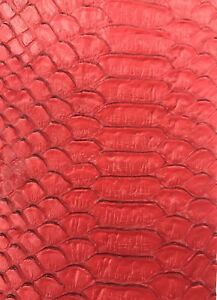 Vinyl Fabric Red Faux Viper Snake Skin Leather Upholstery