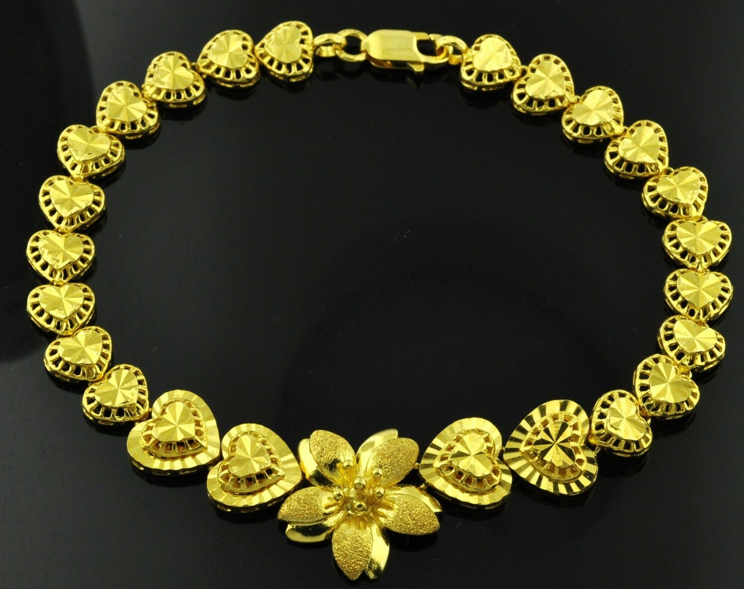 c57928419 18k solid yellow gold flower with heart bracelet 12.50 grams h3jewels