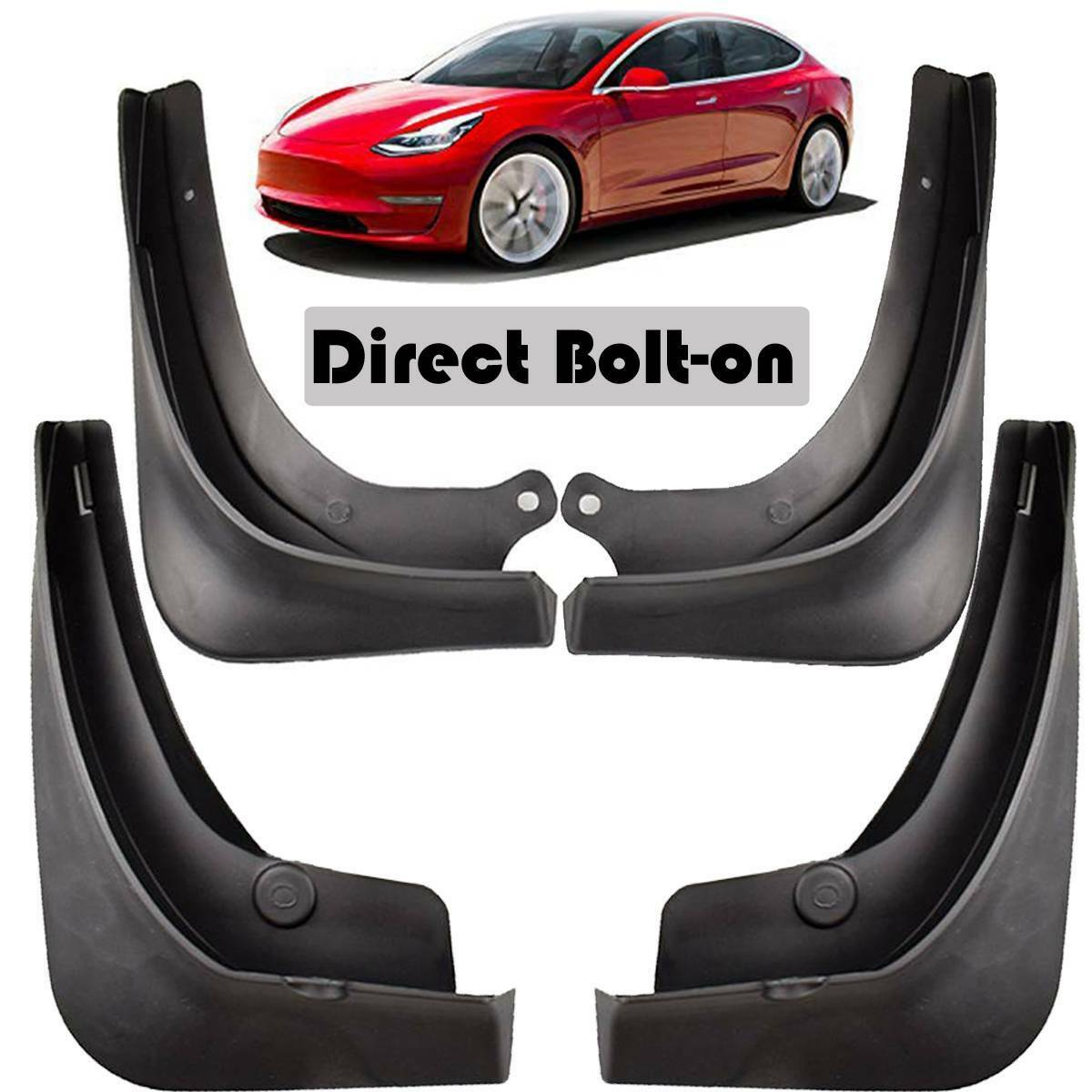 2018 Premium Heavy Duty Mud Flaps Set of 4 with Mounting Hardware-Fits Tesla Model 3 2017 2020-Splash Guard Flaps-Front,Rear,Left and Right-Black Mud Guard-Durable ABS Plastic Renewed 2019