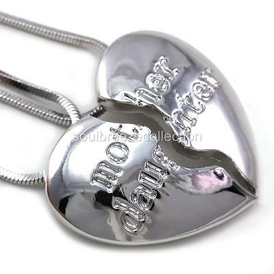 Mothers Day Gift Mom Mother & Daughter Heart Pendant Necklace Charm Silver Tone