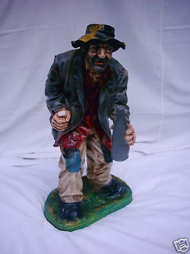 """Aufstellfigur personnage /""""clochard/"""" statue sculpture hauteur 96cm"""