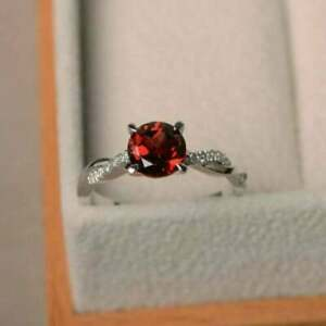 1-70Ct-Round-Cut-Red-Garnet-Solitaire-Engagement-vintage-Ring-14K-White-Gold-FN