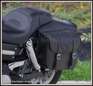 Sacoche-cavaliere-en-Cuir-Tete-de-Mort-SKULL-moto-custom-harley-shadow-virago