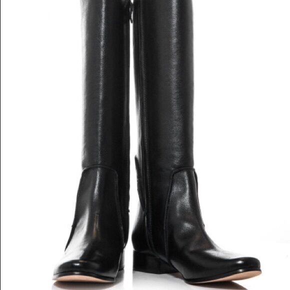 DIANE VON FURSTENBURG RANGER BACK ZIP LEATHER RIDING BOOTS BLACK SZ 7 NEW! 530