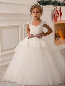 Details about 2019 NEW Wedding Party Formal Flower Girls Dress baby Pageant  dresses